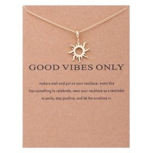 Gold Good Vibes Manifesting Sun Necklace NWT